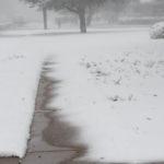 Sidewalk swallowed by snow